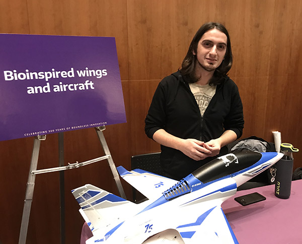 Burak Boyacioğlu, a Ph.D. student in the University of Washington's Department of Aeronautics & Astronautics, in the lab of Kristi Morgansen.